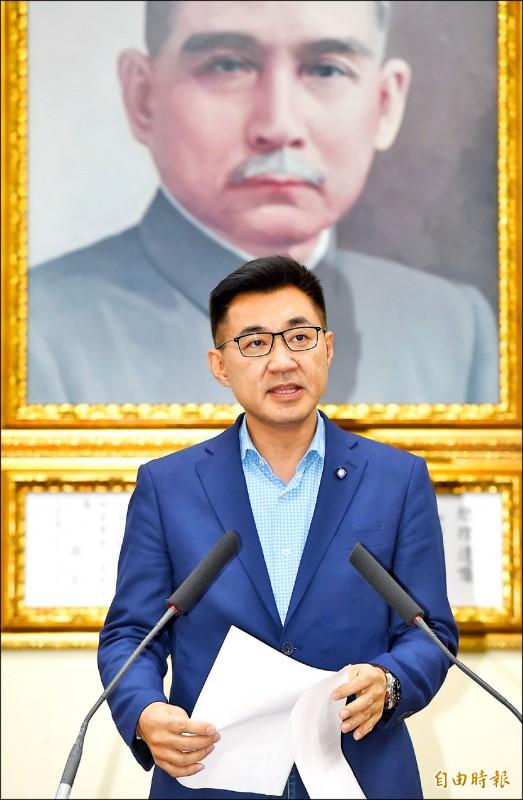 江啟臣取得壓倒性勝利,當選國民黨主席。(記者方賓照攝)