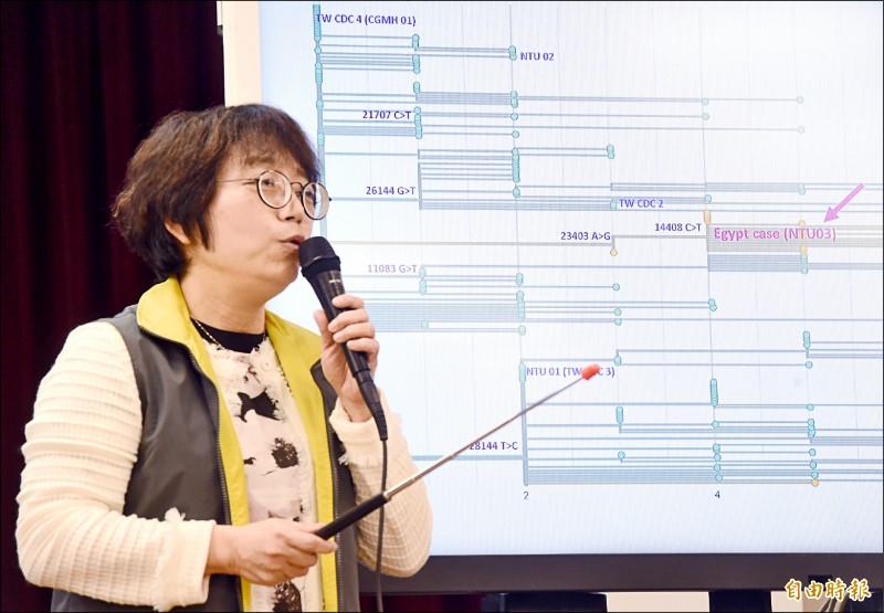 台大醫學院葉秀慧教授指出,國內確診個案病毒株主要四個分枝、都是源起於武漢,她認為病毒「絕對來自中國」。(記者朱沛雄攝)