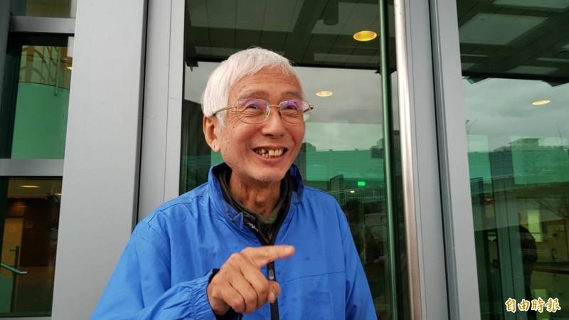 祁家威笑著說,台灣現階段同婚比較麻煩的是卡在跨國問題。(記者溫于德攝)