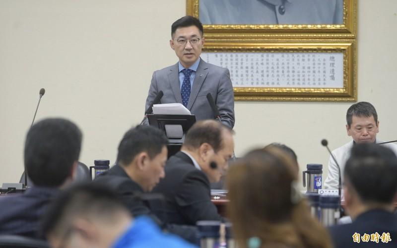 江啟臣表示,未來他要成立的集體決策平台,絕對不會取代中常會最高權利機構的功能,但有助未來面對外部政治攻防時的快速表現,讓國民黨的戰力倍增。(記者張嘉明攝)