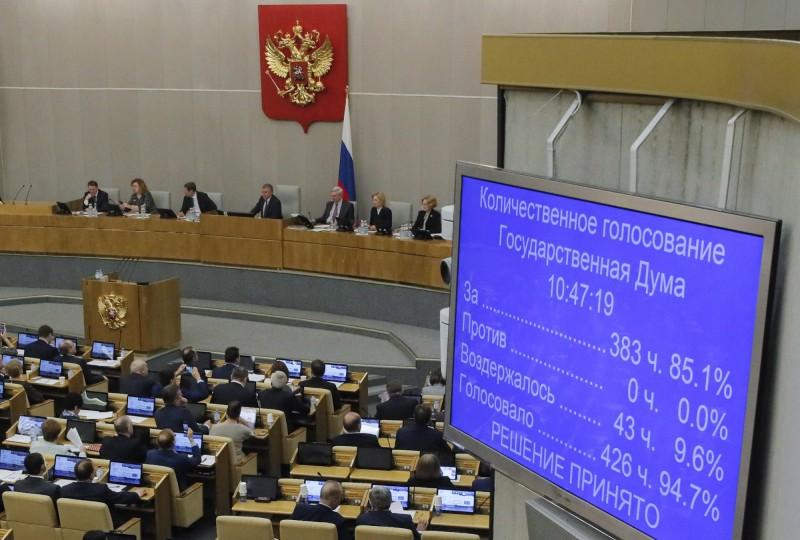 俄羅斯國家杜馬批准了一連串的憲法修正案,以383票贊成、0票反對、43票棄權、24人缺席的情況下通過三讀。(歐新社)