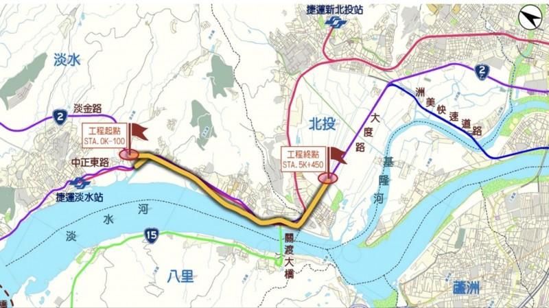 淡北道路路線圖。(新北工務局提供)