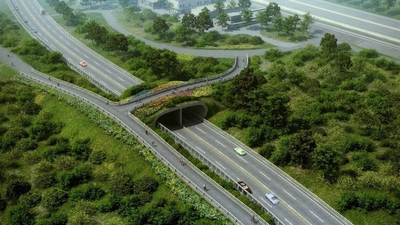 淡北道路示意圖,圖為竹圍路段將有人行陸橋跨越淡北道路,連接台二線至河岸。(新北工務局提供)