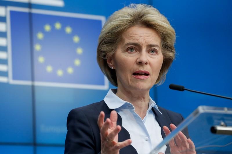 針對美國總統川普宣布限制歐洲旅行30天,歐盟高層今(12)日發表聲明表示「不贊同」這項沒有經過商議的單方面決定。圖為歐盟執委會主席馮德萊恩。(歐新社)