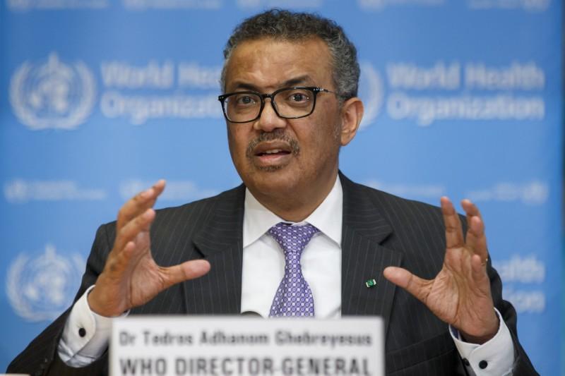世界衛生組織(WHO)剛剛在日內瓦宣布武漢肺炎為大流行性疾病(pandemic)。圖為秘書長譚德賽。(歐新社)