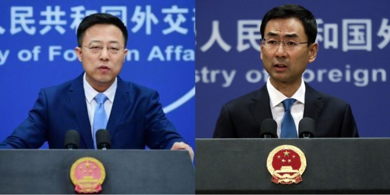 中國外交部發言人趙立堅(左)指責可能是美軍將新型冠狀病毒帶來武漢,耿爽(右)依舊回應「這是一個科學問題」。(左圖取自趙立堅臉書,右圖美聯社檔案照)