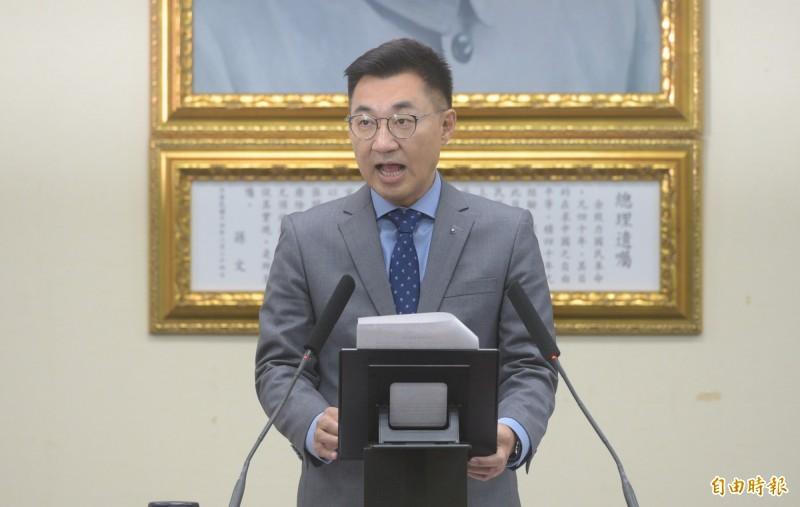 江啟臣(見圖)為國民黨新任黨主席,昨(12)日鬆口承認藍營敗選不代表九二共識有問題。(資料照)