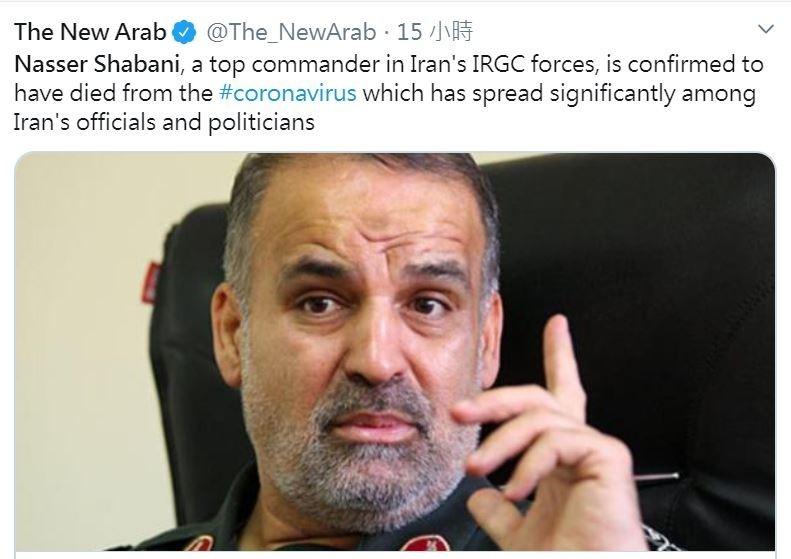 伊斯蘭革命衛隊高級指揮官沙巴尼(Nasser Shabani)因確診武漢肺炎病逝。圖為伊朗人民戴著口罩以防止感染武漢肺炎。(圖擷取自推特)