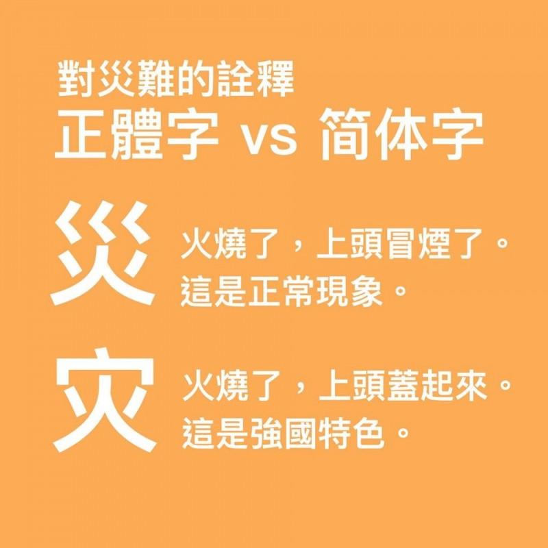 陳醫師在臉書解構「災」字的繁體、簡體意思,顯見台灣與中國對於災難有不同的詮釋。(圖取自陳志金臉書)