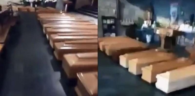 義大利貝爾加莫當地教堂內部畫面曝光,至少停放47具棺材。(圖取自推特)