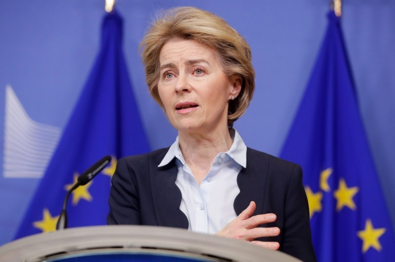 歐盟執委會主席馮德萊恩(見圖)正草擬新禁令,建議暫時禁止成員國民眾到歐盟以外不必要的旅行,初步先實施30天。(歐新社檔案照)