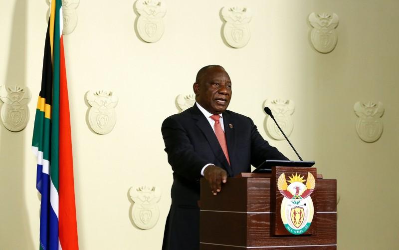 南非總統拉瑪佛沙在當地時間15日發表全國談話,宣布全國進入國家災難狀態。(法新社)