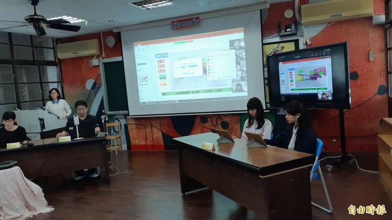 台東市康樂國小今天進行視訊上課演練。(記者黃明堂攝)
