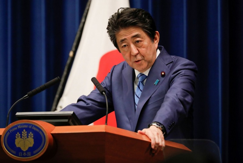 日本首相安倍晉三說,七大工業國集團(G7)已經同意支持舉辦「完整的」東京奧運,他希望以完整舉辦奧運為目標,證明人類可以擊敗武漢肺炎。(路透資料照)