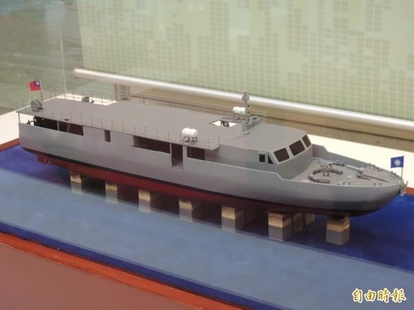 海軍計畫籌建4艘快速佈雷艇案。圖為中科院在航太展中展示的快速佈雷艇設計模型。(資料照)