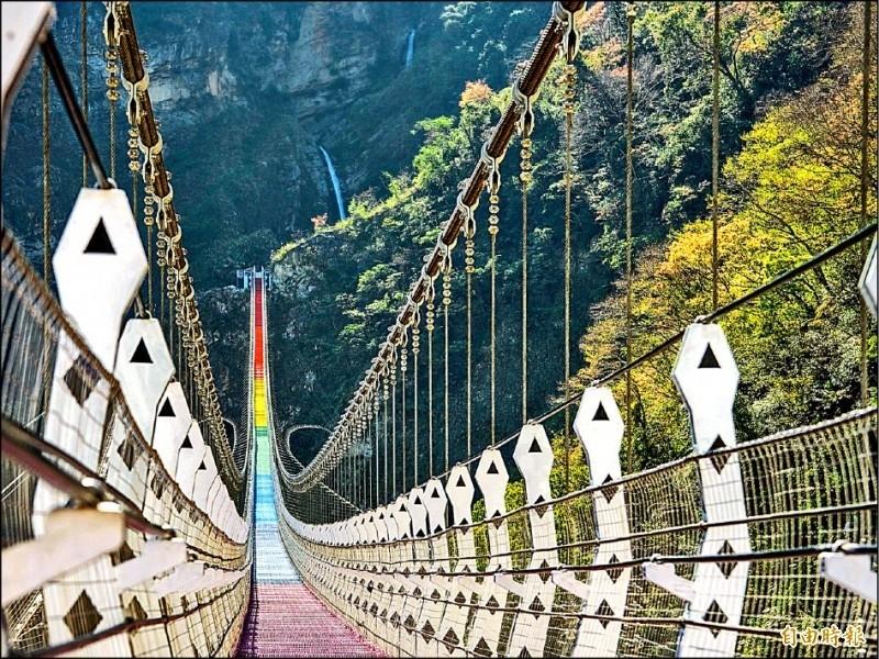 南投推國旅市場,雙龍瀑布七彩吊橋打頭陣。(資料照,記者劉濱銓攝)