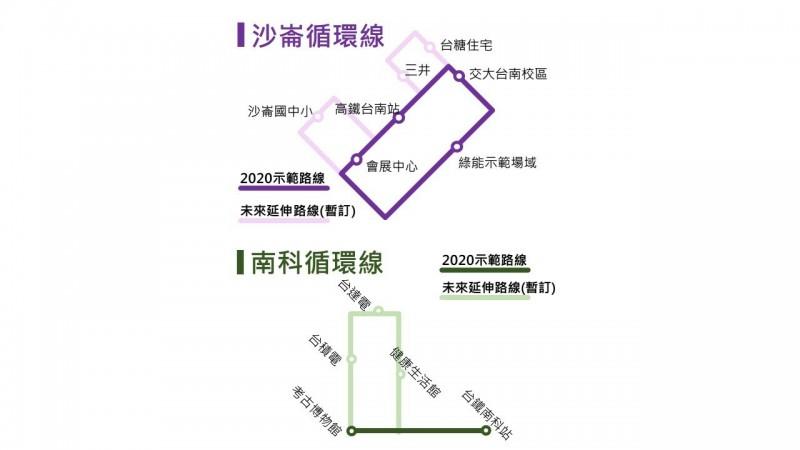 台南市自駕公車初期規劃2條路線。(記者劉婉君翻攝)