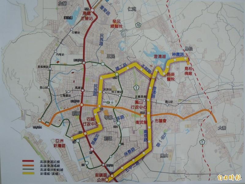 高市府針對高捷黃線行經保泰路取代五甲二路做民調,超過七成民眾支持原案經過五甲二路。(記者王榮祥攝)