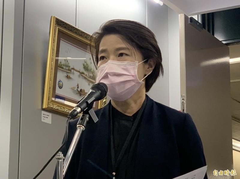 台北市副市長黃珊珊回應疫情相關問題。(記者沈佩瑤攝)