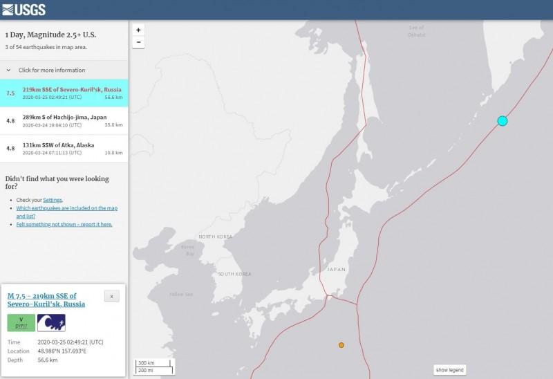 俄羅斯幌筵島大洋城南南東方219公里海域發生芮氏規模7.5強震。(擷取自USGS)