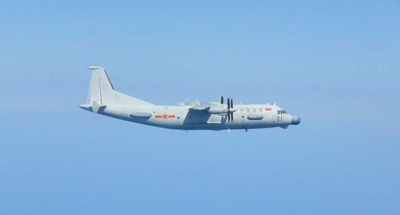 日本統合幕僚監部證實,一架中國Y-9偵察機在3月25日在東海、日本海飛行。(擷取自日本統合幕僚監部)