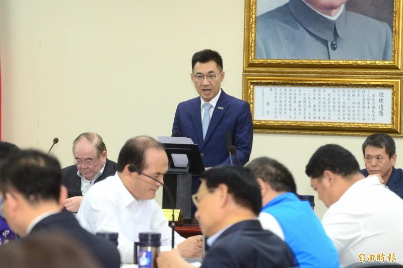 國民黨中常會,會中由國民黨黨主席江啟臣(圖中)主持,並說明工作重點。(記者王藝菘攝)