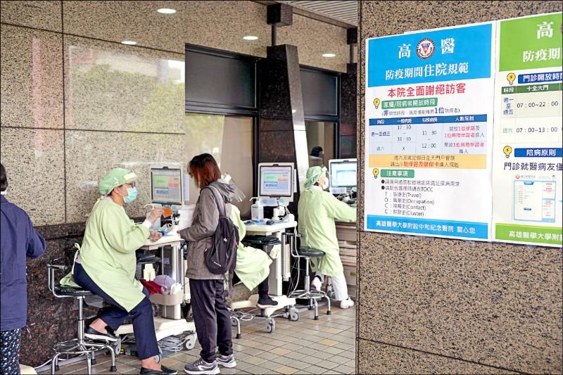 高醫醫療體系今日起,一般病房取消假日探病,平日探病限一個時段。(高醫提供)