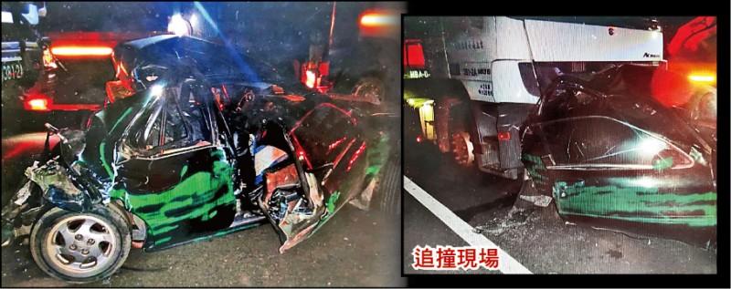 西濱快速道路發生曳引車追撞轎車死亡車禍,轎車 宛如廢鐵。 (記者張軒哲翻攝)