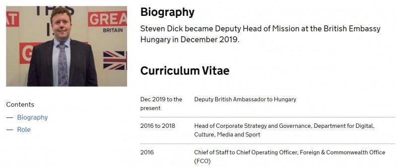 英國外交及國協事務部指出,該國駐匈牙利布達佩斯副大使狄克(Steven Dick)在感染武漢肺炎後不治身亡,享年僅37歲。(圖擷自Foreign & Commonwealth Office)