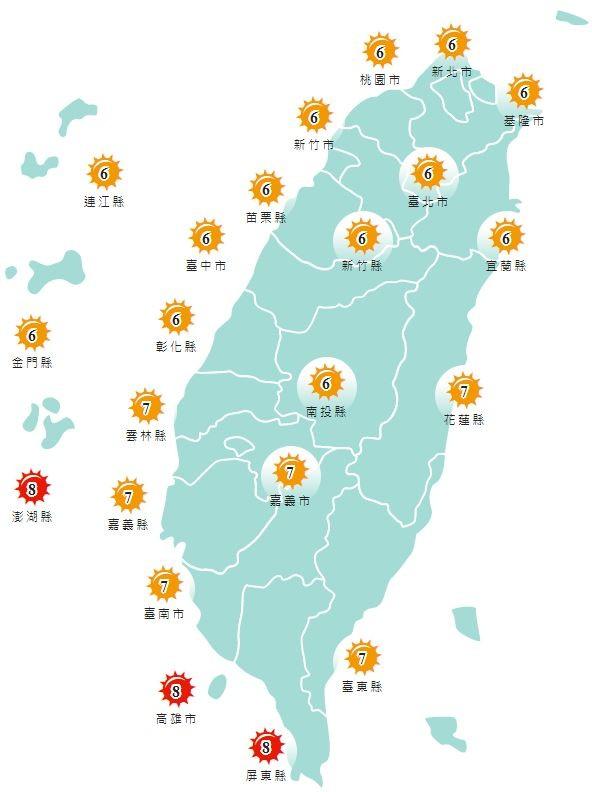紫外線方面,明天除了澎湖縣、高雄市以及屏東縣為「過量級」,其餘地區皆為「高量級」。(圖擷取自中央氣象局)