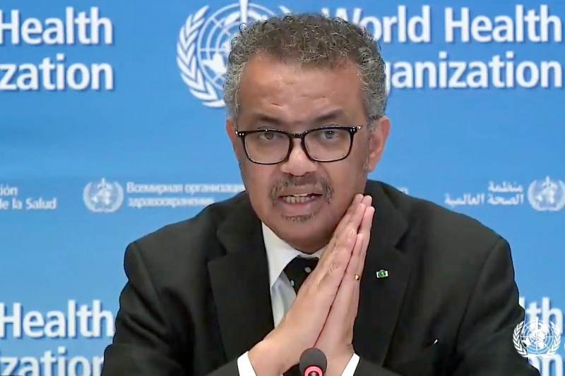 世界衛生組織(WHO)秘書長譚德塞(Tedros Adhanom Ghebreyesus)在新聞發布會上表示肺炎病毒相當危險。他呼籲各國「停火」,並稱「2個月前,我們浪費了第1個機會;我們還有第2個機會不能浪費」。(法新社)