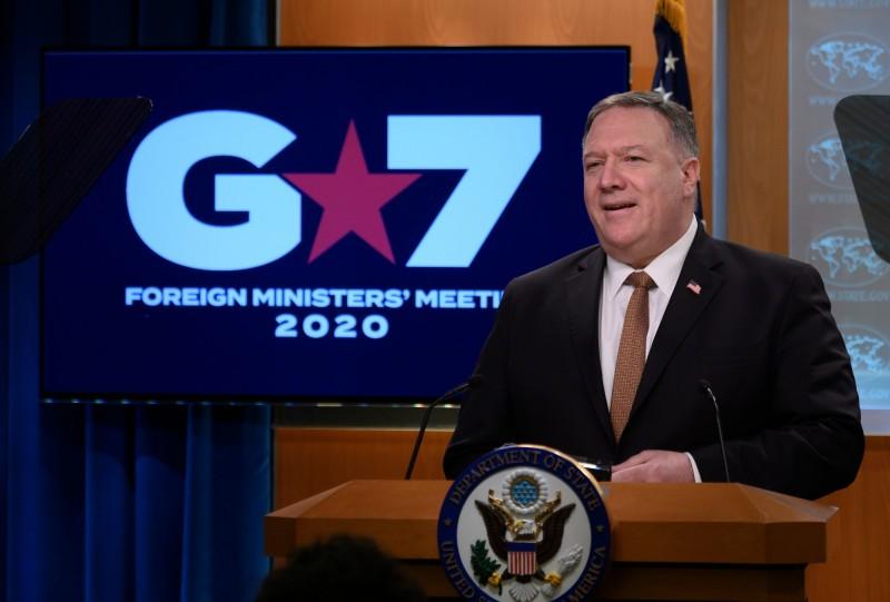 美國國務卿龐皮歐在G7會後重批中國從事假消息活動。(法新社)