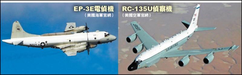 美軍昨日分別派遣RC-135U偵察機與EP-3E電偵機接近我國西南空域,在南海上空梭巡。(圖取自美國空軍、海軍官網)
