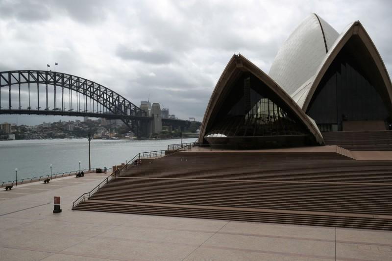 澳洲雪梨歌劇院前廣場,受疫情衝擊,已看不到觀光客人影。(路透)