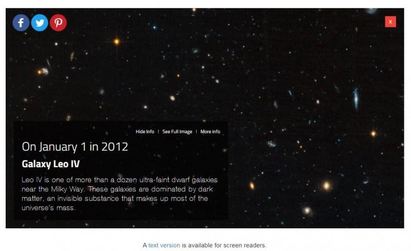 圖為1月1日的查詢結果,照片下方有簡短圖說。(翻攝NASA網站)