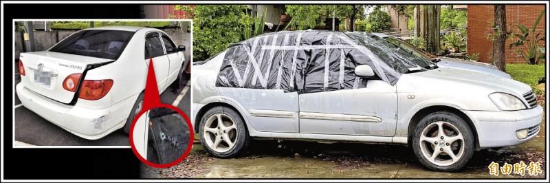 肇事車輛被拖回警局,上半部全部以黑色塑膠袋遮蓋,避免彈孔曝光(右圖,記者謝武雄攝),對比4年前同樣是桃園警追贓車時,開槍打死副駕駛座的少年,車輛公開讓記者拍訪(左圖,資料照),作法明顯不同。