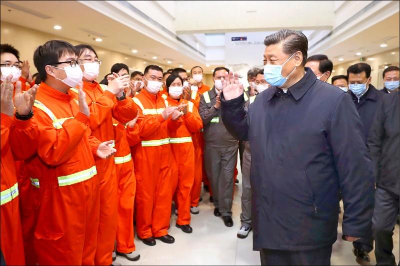 中國國家主席習近平廿九日親訪浙江省寧波市舟山港的穿山港區,視察這個中國重要貨櫃遠洋幹線港的復工狀況。(美聯社)