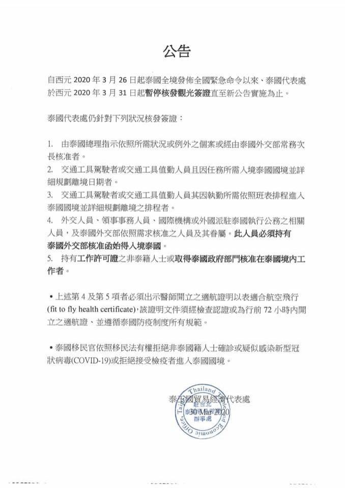 泰國自3月26日起全境發布全國緊急命令,泰國代表處今天公告,即(31)日起暫停核發觀光簽證,直至新公告實施為止。(取自泰國代表處臉書)