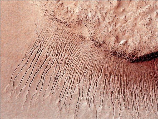 科學家過往曾在火星表面觀測到季節性循環的條紋陰影,後被認為是鹽水在夏季期間從希拉斯撞擊盆地(Hellas impact basin)高處間歇往下流動的結果。(路透)