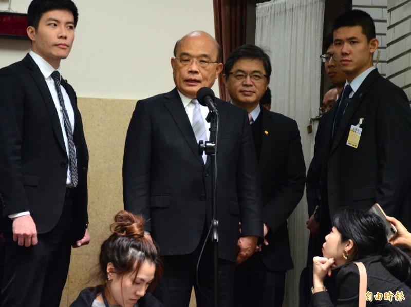 行政院長蘇貞昌今批評,官場陋習「早就該改」。(記者王藝菘攝)