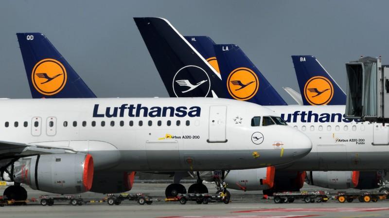 德國漢莎航空公司的飛機,停在南部慕尼黑的「弗朗茨-約瑟夫-斯特勞斯」機場。(法新社)