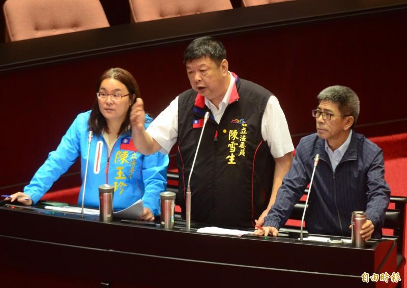 立法院院會,國民黨立委陳玉珍(左起)、陳雪生與民進黨立委楊曜共同質詢。(記者王藝菘攝)