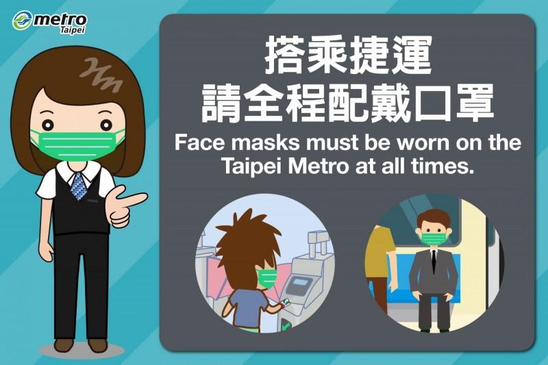 北捷呼籲民眾,搭乘捷運全程戴口罩。(北捷提供)