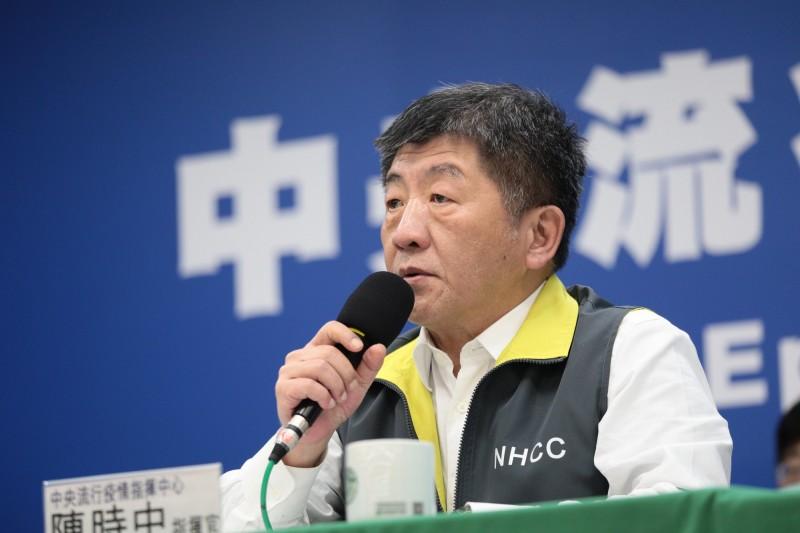 中央流行疫情指揮中心指揮官陳時中今天表示,建議以確診數來評估口罩捐贈的國家。(指揮中心提供)