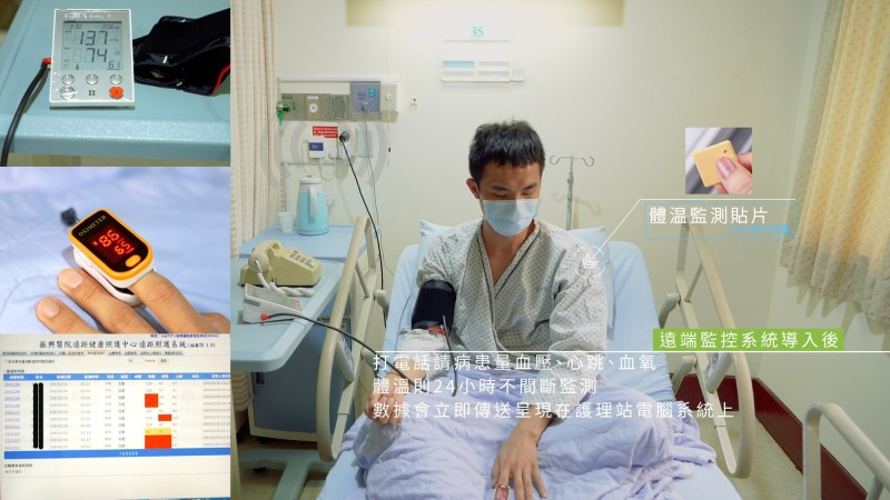遠端監控系統導入後,即時體溫貼片監控系統,可對隔離患者進行24小時體溫監測。(振興醫院提供)