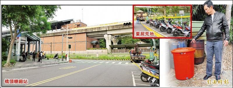 發現桶屍的空地(右側)已被封鎖調查,與捷運橋頭糖廠站一號出口僅相隔一條馬路,里長蘇道明指屍體就被裝在和圖中一樣大小的塑膠桶裡。 (記者許麗娟攝)