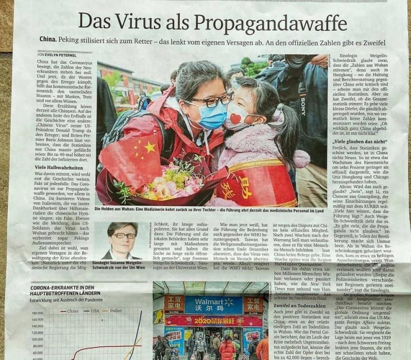 奧地利主流媒體《信使報》(Kurier)2日刊出半版報導,標題為「病毒作為宣傳武器」,報導台灣早已警告過世衛,中國卻把病毒當作武器。(民眾提供)