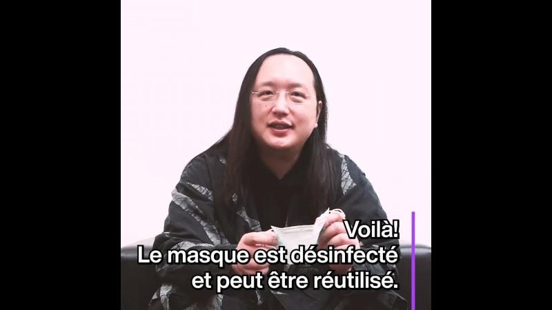 行政院政務委員唐鳳以6種語言教你電鍋乾蒸口罩消毒,圖為唐鳳最新的法文版影片。(圖取自唐鳳臉書)