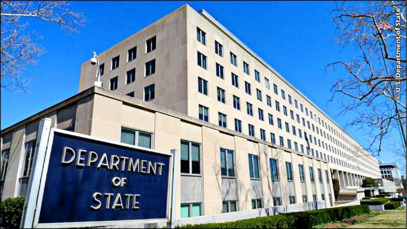 美國國務院昨主動發布新聞稿表示,指主管亞太與國際組織的美國高層官員,在上月31日與台灣外交部官員舉行虛擬論壇。圖為美國務院外觀。(取自網路)