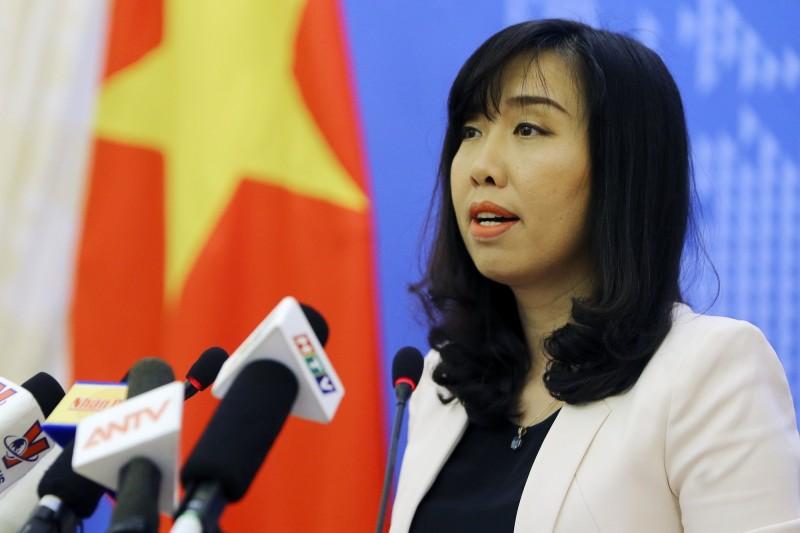 越南外交部發言人黎氏秋姮就越南漁船遭撞沉一事,對中國表達嚴正抗議。(法新社)